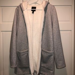 Forever 21 Grey Fleece Winter Coat